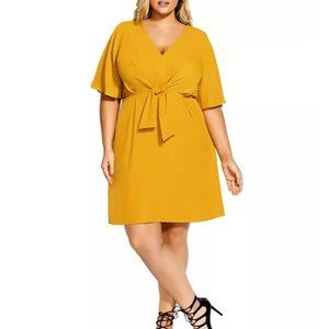 City Chic Plus Size Mustard Yellow Knot Front Midi